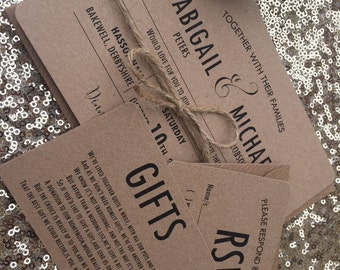 Vintage/Rustic 'Abigail' wedding invitation/RSVP/Gift card SAMPLE- kraft brown with envelopes