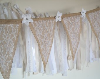 Burlap Banner, Lace Banner, Rustic Wedding Garland, Burlap and Lace Banner