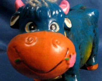 Vintage 1960s Mod Cow Coin Bank