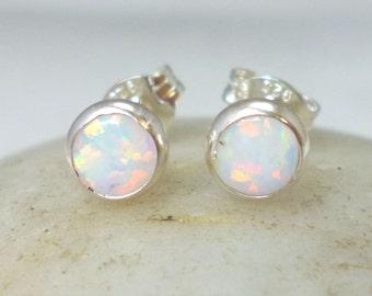 Faux White Opal Stud Earrings .. Small 5MM Surds .. Opal Earrings .. Opal Jewelry .. Handmade Gift 5mm