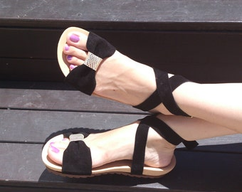 Flat leather handmade sandals / women sandals in black, blue and coral leather / Model Perla