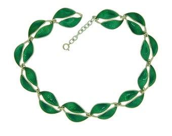 Enamel Leaf Statement Necklace