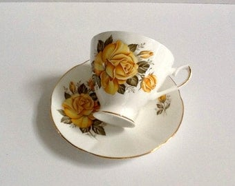 Royal Dover Bone China Tea Cup & Saucer, Made in England, Yellow Rose, Gold Trim