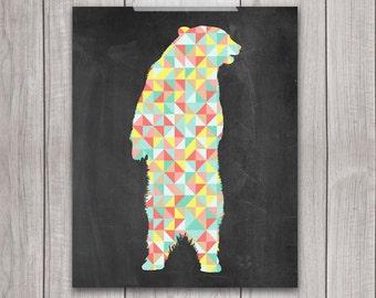 Geometric Bear Art Print - 8x10 Animal Print, Bear Print, Wall Art, Animal Art, Chalkboard