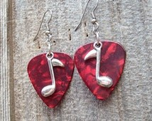Silver Music Note Guitar Pick Charm Earrings - Choose Your Color