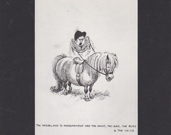 A delightful and humorous vintage 1963 horse/pony mounted print by English cartoonist Norman Thelwell. Ideal for home decor or special gift