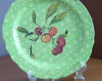 Decorative plate with flowers and fruit