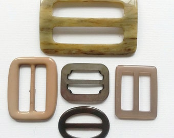 Taupe vintage buckles various materials assorted