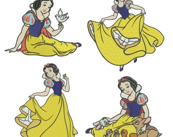 INSTANT DOWNLOAD Machine Embroidery Designs. Snow White. Set Snow White and the Seven Dwarfs.