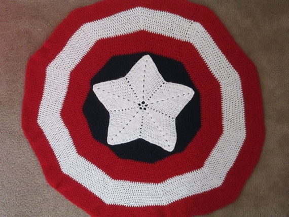 Free Crochet Pattern For Captain America Blanket : crochet boys superhero Captain Americas shield