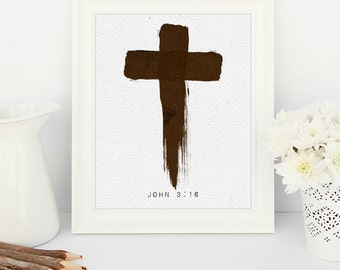 Painted Cross John 3:16 -  8x10 printable