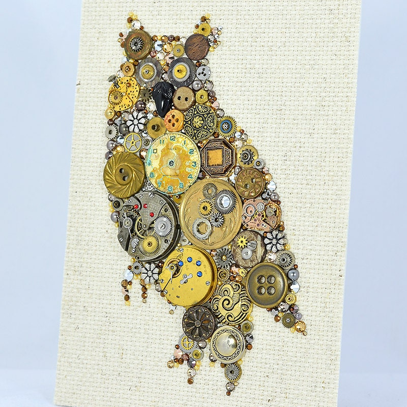 button art steampunk owl vintage button art wall hanging. Black Bedroom Furniture Sets. Home Design Ideas