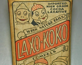 Vintage Laxo-Koko Unopened Paper Label Cocoa Laxative Tin Palmer Cox Brownies