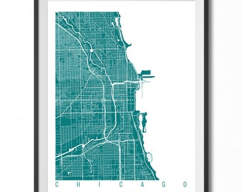CHICAGO Map Art Print / Illinois Poster / Chicago Wall Art Decor / Choose Size and Color