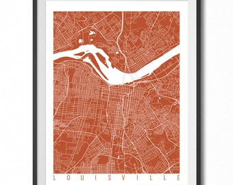 LOUISVILLE Map Art Print / Kentucky Poster / Louisville Wall Art Decor / Choose Size and Color