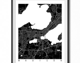 MADISON Map Art Print / Wisconsin Poster / Madison Wall Art Decor / Choose Size and Color