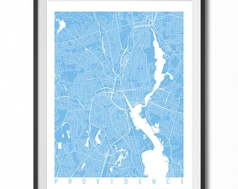 PROVIDENCE Map Art Print / Rhode Island Poster / Providence Wall Art Decor / Choose Size and Color