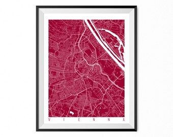 VIENNA Map Art Print / Austria Poster / Vienna Wall Art Decor / Choose Size and Color
