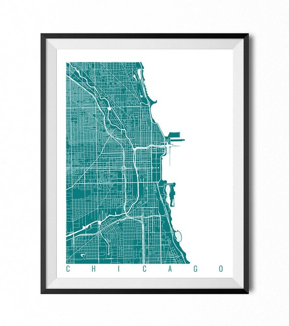 CHICAGO Map Art Print / Illinois Poster / Chicago Wall Art