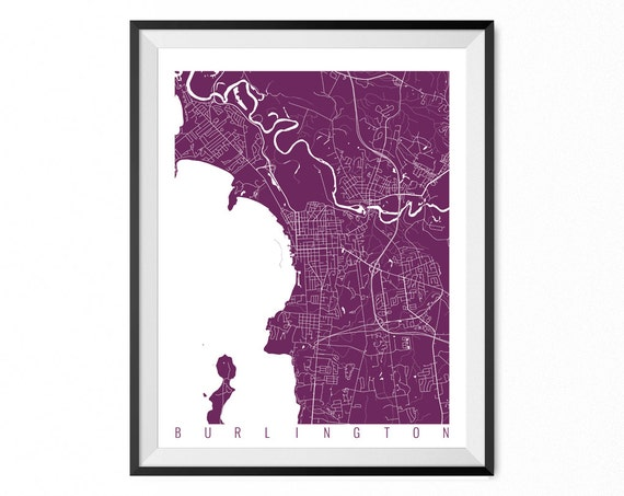 Burlington Map Art Print Vermont Poster Burlington Wall