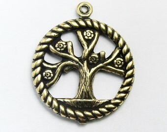 11 Tree of Life Charms, Antique Gold Plated, 20mm  Made in USA, #TB135G