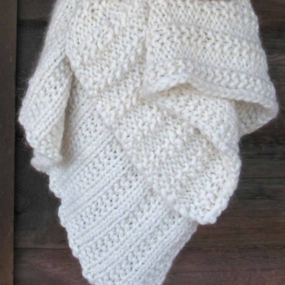 Free Knitting Pattern Chunky Cape : Chunky Blanket KNITTING KIT Super Bulky Thick Yarn Merino Wool Silk. #19 Circ...