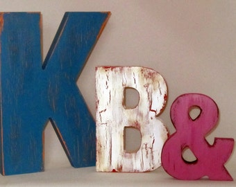 Free Standing Big Letters Hand Painted for Weddings,Home decor, nursery letters, vintage sign, rustic, distressed, weathered paint effect