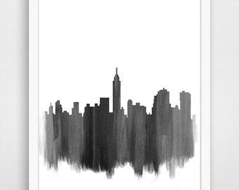 New York Skyline Watercolor Print