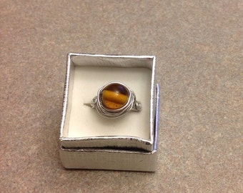 New handmade wire wrapped glass bead ring size 8