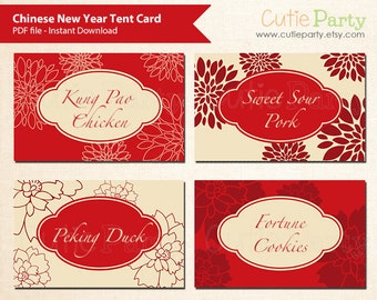 Chinese Theme Party Printable, Editable Food Tags, Instant Download - Tent Card, buffet card, food tags, gift tags, table place