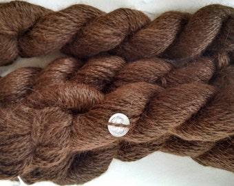 Natural Dark Brown 100% alpaca Suri and Huacaya silky blend 2 ply sport weight 200 yards each