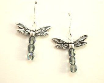 Dragonfly earrings with Blue Crystals