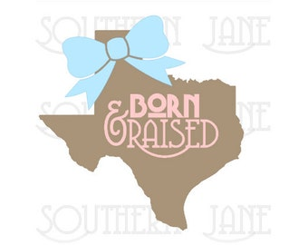 "Cute State ""Born & Raised"" With A Bow Decal Sticker"