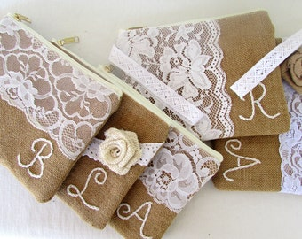 4 Monograms -Personalized clutch-burlap bag- bridesmaid clutch -Bridesmaid Gift /wedding clutch/set of 4 Express shipping