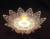 Wooden Lotus Flower Mandala  - Centerpiece Pedistal Candle Holder