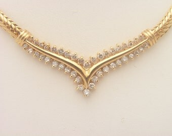 0.50 Carat T.W. Round Cut Diamond Foxtail Necklace 14K Yellow Gold