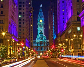 Philadelphia City Hall at Night Canvas Art (12x14)