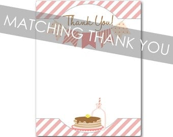 Pancakes Pajamas Thank You card - Matching Thank You card for pancakes and pajamas birthday party Invitation - INSTANT DOWNLOAD file