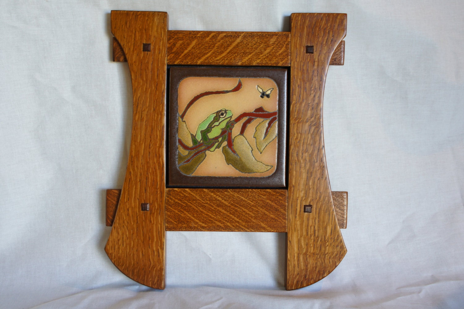 Arts crafts style art tile frog with a bee framed by for Arts crafts tiles