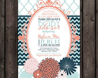 baby girl shower invitation, coral and mint and navy invitation, flower baby shower invitation, customized wording included
