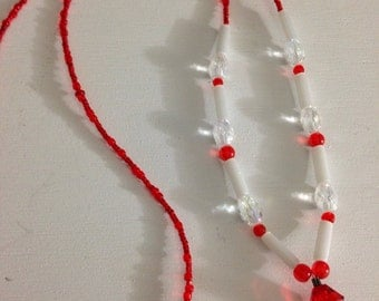 Red, white and clear beaded lanyard