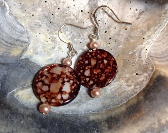Brown and Ivory Colored Shell Earrings