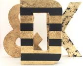 Gold Letters - Gold Leaf - Wedding - Nursery - Baby Shower - Chic - Cute - Decorative - Fun - Glamorous-Wall Decor