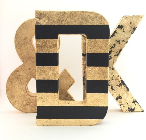 Gold letters black and gold leaf striped wedding nursery for Gold wall decor letters