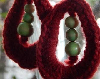 SALES,tear drop crochet earrings,handmade,crochet earrings,acrylic earrings,crochet earrings with green wooden beads,oval shape,tear shape