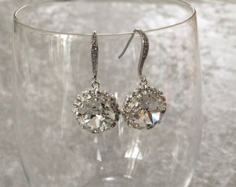 Swarovski crystal earrings, wedding earrings, bridal earrings, wedding jewelry, princess jewelry