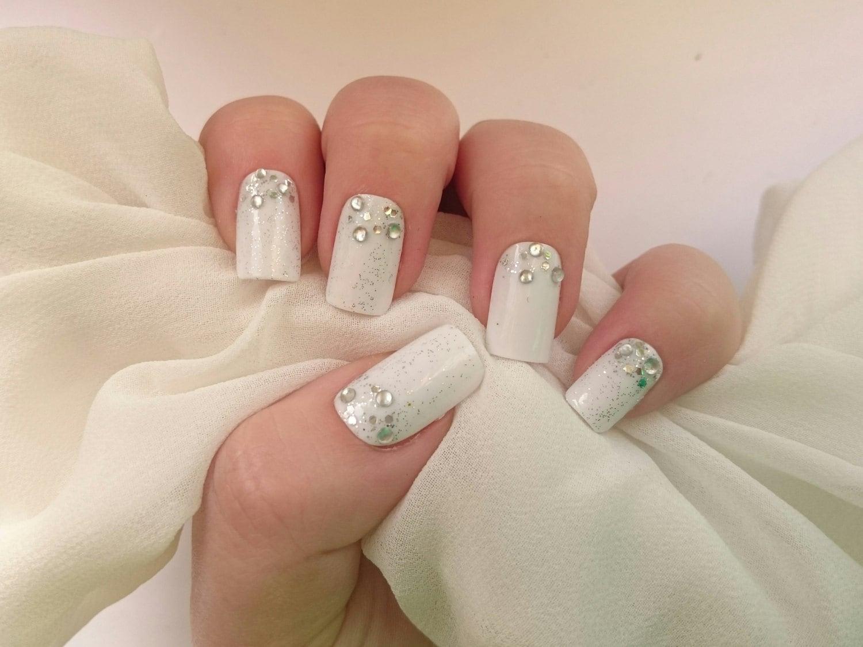 Rhinestone Wedding Nails White False Nails By Nicolasnails14