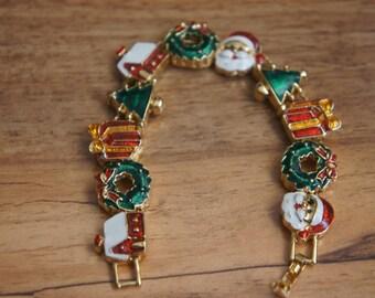 Vintage  Jewelry  Bracelet  Christmas Christmas tree Gift Santa Claus R-037