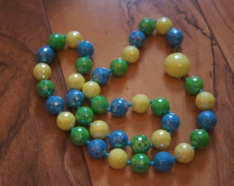 Estate Vintage Jewelry Necklace Beaded Glass Blue,Green, Yellow, Ball , Signed ,Made Austria  A-036
