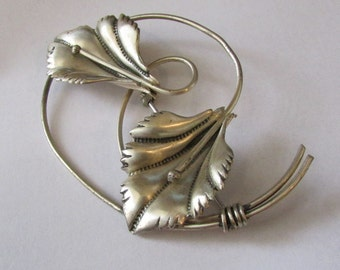 Sterling Silver Coro Lily Pin or Brooch